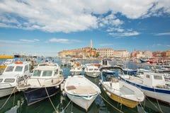 Rovinj boats in Croatia royalty free stock image