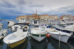 Rovinj. Is a city in Croatia situated on the north Adriatic Sea.  Located on the western coast of the Istrian peninsula, it is a popular tourist resort and an Stock Photos