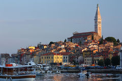 Rovinj (Croatia). View of the harbor in the morning sunrise Royalty Free Stock Image