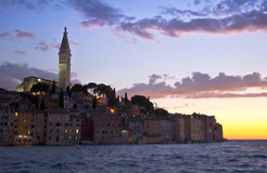 Rovinj, Croatia. Medieval city of rovinj in croatia at sunset Stock Image