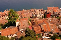 Rovinj, Croatia. Overlook over the houses and its roofs of Rovinj, Croatia, and the Adriatic sea Stock Images