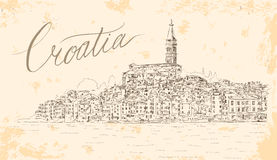 Rovinj in Croatia at Adriatic Sea. Vector Sketch. Stock Photography