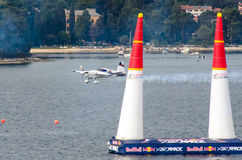 ROVINJ, CROATIA - APRIL 13 2014 airplane at Red Bull Air Race ev. ROVINJ, CROATIA - APRIL 13 2014 at Red Bull Air Race airplane show Royalty Free Stock Photography