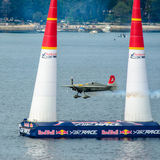 ROVINJ, CROATIA - APRIL 13 2014 airplane at Red Bull Air Race ev Royalty Free Stock Images