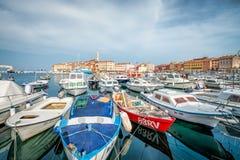 ROVINJ, CROATIA - APRIL 2, 2016: Panoramic view on old town Rovinj from harbor. Istria peninsula, Croatia. Royalty Free Stock Photo