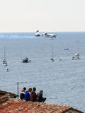 ROVINJ, CROATIA - APRIL 13 2014 spectators on roof at Red Bull A Royalty Free Stock Image