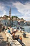 City of Rovinj, Istria, Croatia. Rovinj,Croatia-16.August 2017., Panorama of Rovinj - Rovigno, most beautiful Istria city. Summer daylight, ordinary people and royalty free stock photo