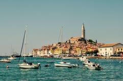 Rovinj Croatia. Clear sky and boats Royalty Free Stock Photography