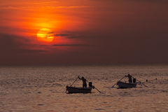 Rovinj - Croatia - Fishermen at sunset Royalty Free Stock Photography