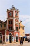 Rovinj, Croatia-June 25, 2017:Clock tower and historical buildings in Rovinj, Croatia. stock images