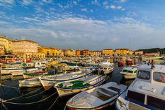 ROVINJ, CROATIA - September 15: Small boats inside the harbor of an old Venetian town, Rovinj, Croatia Royalty Free Stock Photo