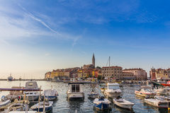 ROVINJ, CROATIA - September 15: Small boats inside the harbor of an old Venetian town, Rovinj, Croatia Stock Photo
