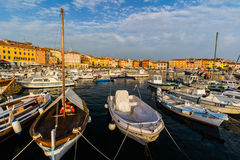 ROVINJ, CROATIA - September 15: Small boats inside the harbor of an old Venetian town, Rovinj, Croatia Royalty Free Stock Images