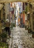 ROVINJ, CROATIA, SEPTEMBER 27, 2017: unknown person walking on a old cobbled street in Rovinj. stock photo