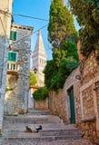 Rovinj Croatia. Vintage street with traditional Croatian royalty free stock photography