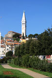 Rovinj downtown with a bell tower of St Euphemia Stock Photo
