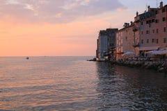 Rovinj en la puesta del sol en Croacia Imagen de archivo