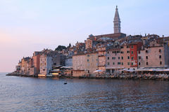 Rovinj en la puesta del sol en Croacia Fotos de archivo libres de regalías