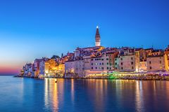 Rovinj in the evening stock images