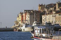 Rovinj Hafen, Kroatien Stockbild