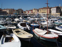 Rovinj Harbour. Lots of boats in Rovinj harbour Stock Images