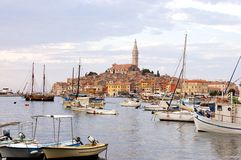 Rovinj harbour and historical center Royalty Free Stock Photo