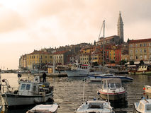 Rovinj harbour sunset Stock Photography