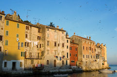Rovinj houses in the morning Stock Image
