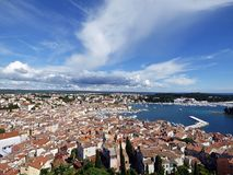 Rovinj, Istria, Croatia, Panoramic view whit clouds royalty free stock photography