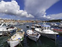 Rovinj, Istria, Croatia, view of the harbor.  royalty free stock image