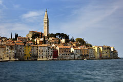 Rovinj, long exposure. Historical center of the city Rovinj with long exposure and blurry waves Royalty Free Stock Photo