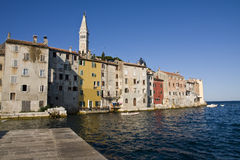 Rovinj in the morning. Rovinj houses in the early morning standing just out of the sea Royalty Free Stock Photo