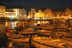 Rovinj at night (Croatia). View of the harbor in Rovinj at night Royalty Free Stock Images