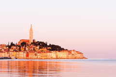 Rovinj, old costal town of Croatia. In golden sunrise light, Adriatic sea coast, Istra region, popular touristic destination Stock Image