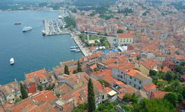 Rovinj old town from above Stock Images