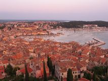 Rovinj - old town with bay. Aerial view of the old town of Rovinj, Croatia Royalty Free Stock Photo