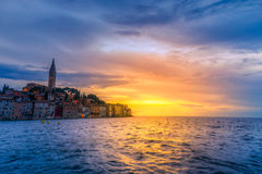 Rovinj old town at night in Adriatic sea Royalty Free Stock Photos