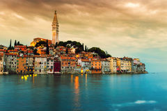 Rovinj old town at night in Adriatic sea Stock Images