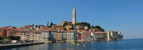 Rovinj old town peninsular with the Church of St. Euphemia on the Adriatic Coast Line Istria . Rovinj old town peninsular with the Church of St. Euphemia on the royalty free stock images