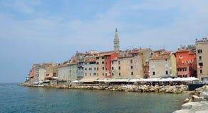 Rovinj old town  peninsular  with the Church of St. Euphemia  on the Adriatic Coast. Line Istria Croatia Stock Images