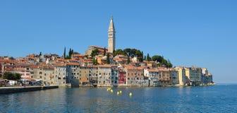 Rovinj old town  peninsular. With the Church of St. Euphemia  on the Adriatic Coast  Line Istria Croatia Stock Photos