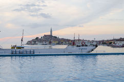 Rovinj, Rovigno. Rovignois a city in Croatia situated on the north Adriatic Sea, view from swimingpool Royalty Free Stock Photos