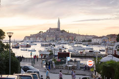 Rovinj, Rovigno view from the street. Rovinj is a city in Croatia situated on the north Adriatic Sea Stock Photo
