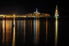 Rovinj sea side town at night, Croatia Stock Photography