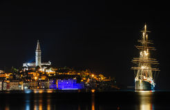 Rovinj sea side town at night, Croatia Royalty Free Stock Photography