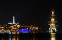 Rovinj sea side town at night, Croatia Royalty Free Stock Photography