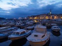 Rovinj by sun set. From the fisherboat marina Stock Photo