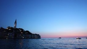 Rovinj at sunset stock video
