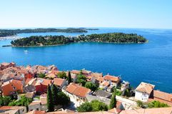 Rovinj town - coastline seascape panorama summer horizontal photo from bell tower Church of St.Euphemia Stock Photos