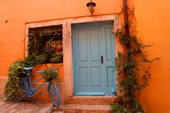 Rovinji, Door, Old Town, Blue Bike Royalty Free Stock Images